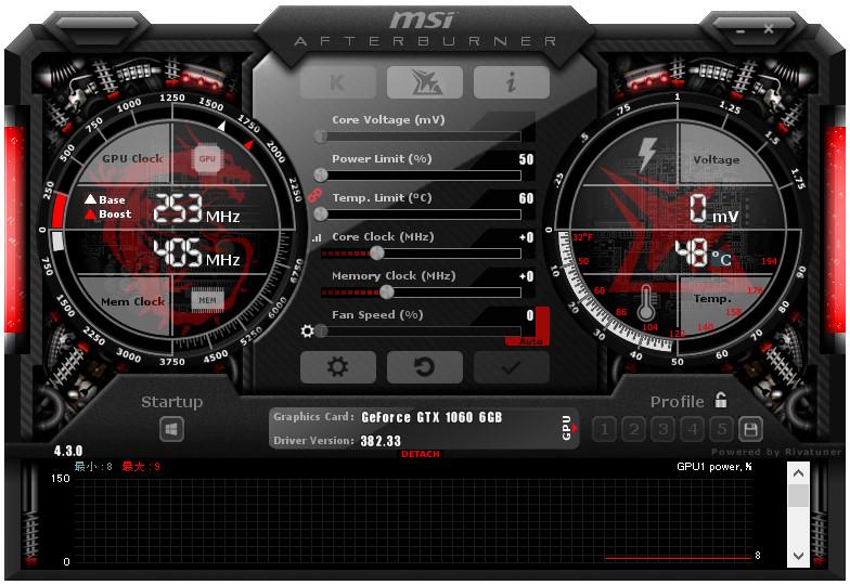 AfterburnerでCPU、GPUの温度と使用率を表示する01