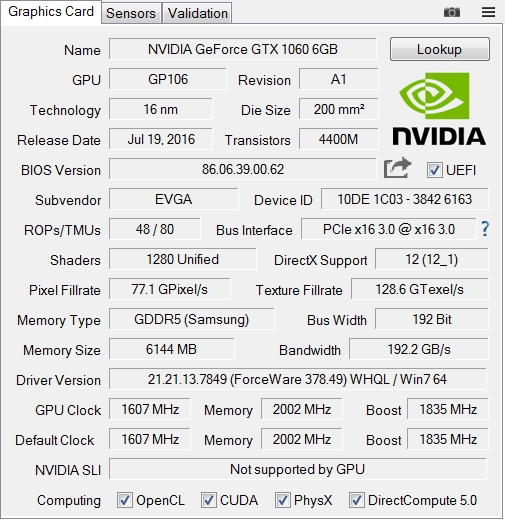 GeForce GTX1060 SC GAMINGの性能
